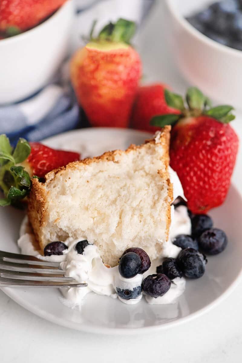 plate with angel food cake