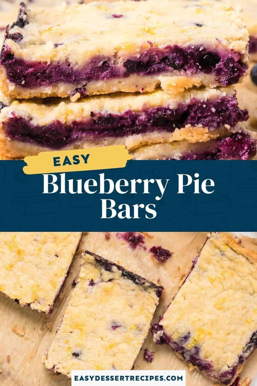 blueberry pie bars pinterest collage