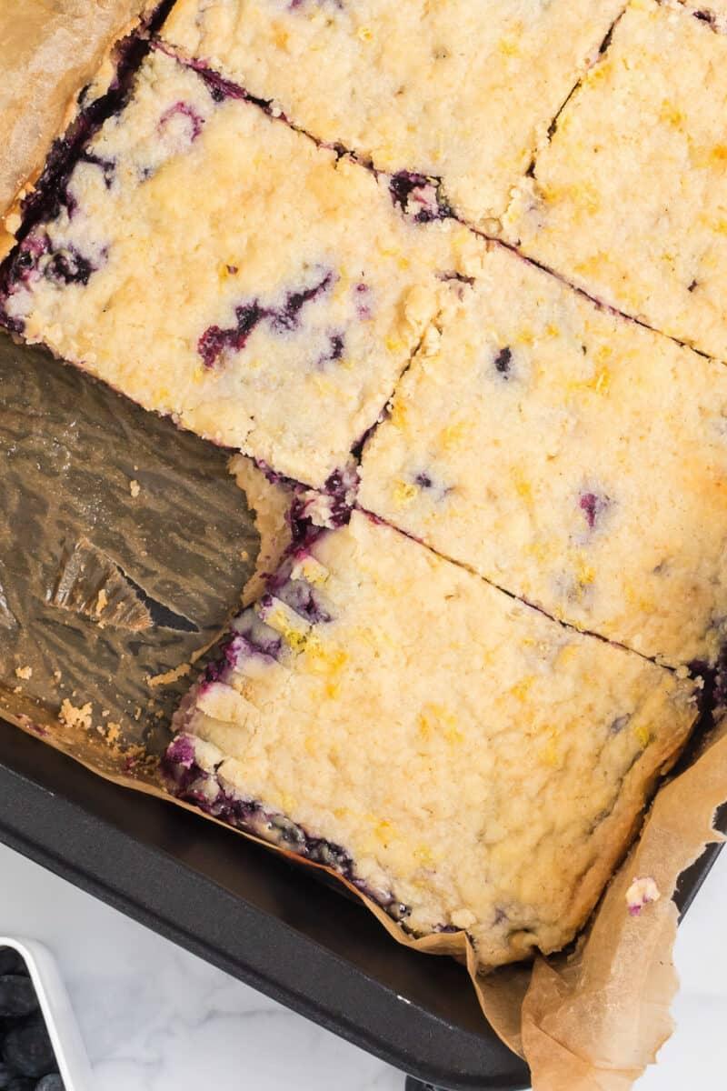 pan of blueberry pie bars