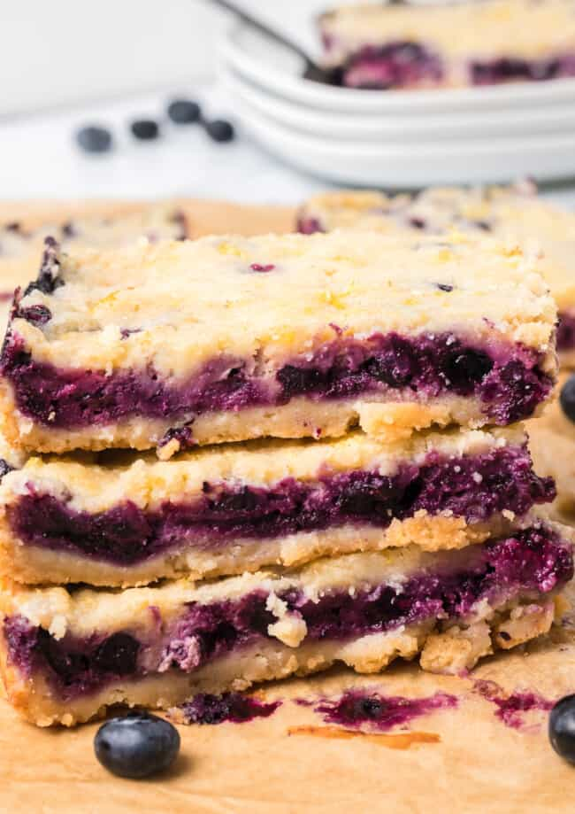 stacked blueberry pie bars