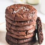 stacked brownie cookies with sea salt