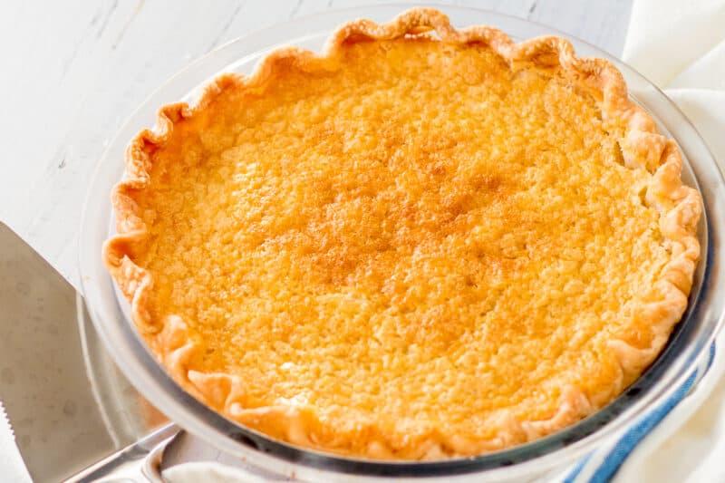 buttermilk pie in pie pan