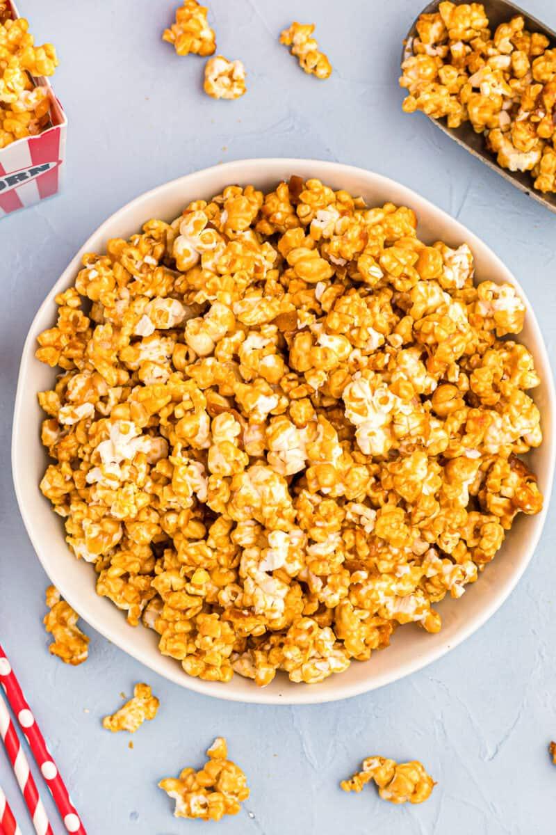 overhead bowl of caramel popcorn