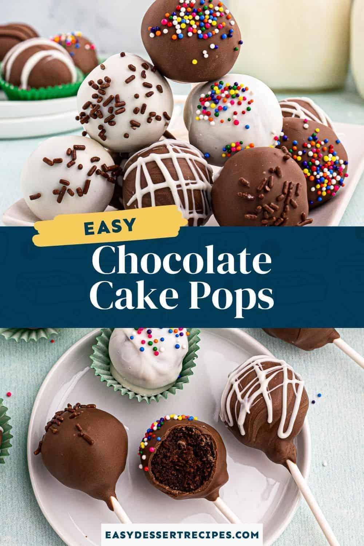 chocolate cake pops pinterest collage