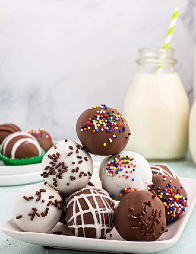 stacked chocolate cake pops