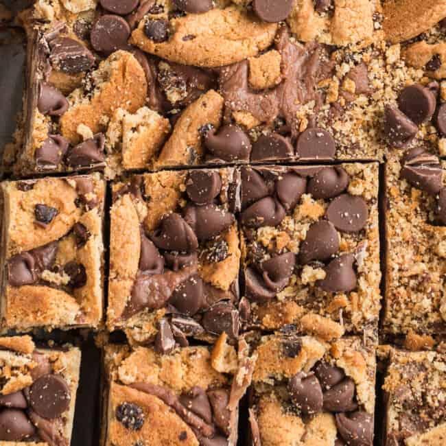 sliced chocolate chip cookie fudge up close