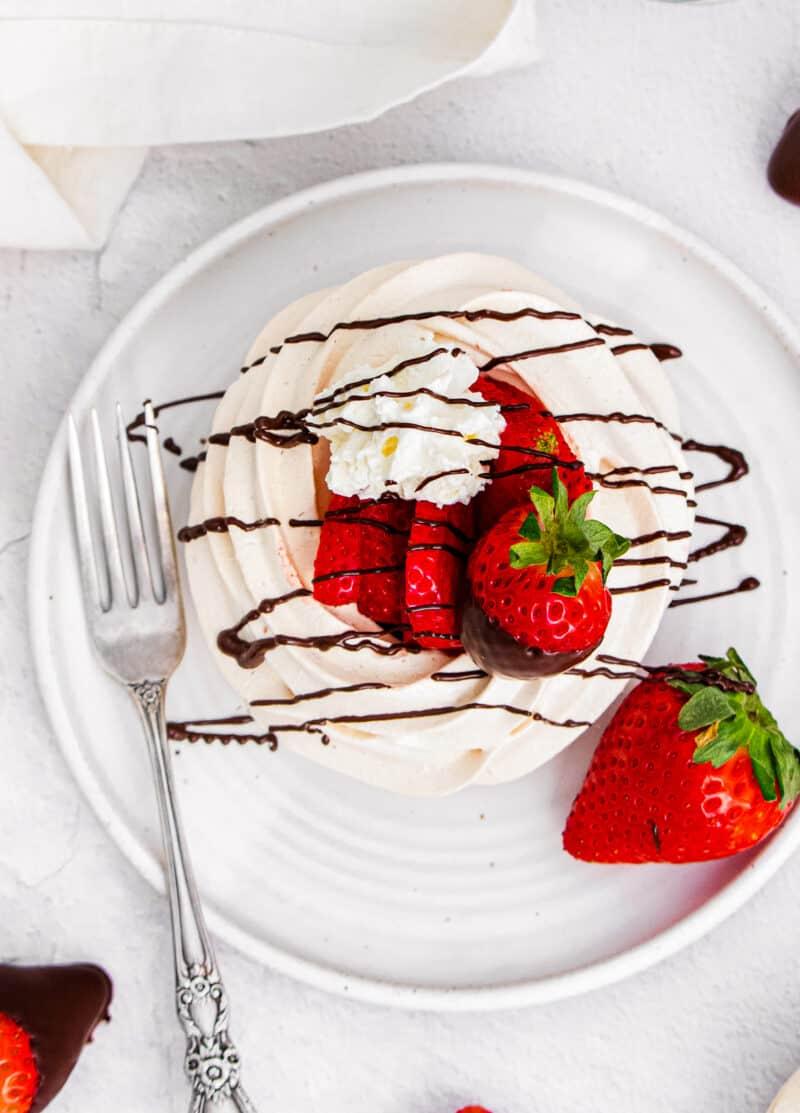 overhead image of chocolate covered strawberry pavlova