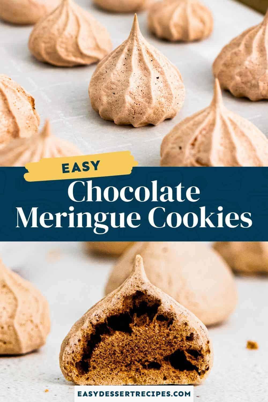 chocolate meringue cookies pinterest collage