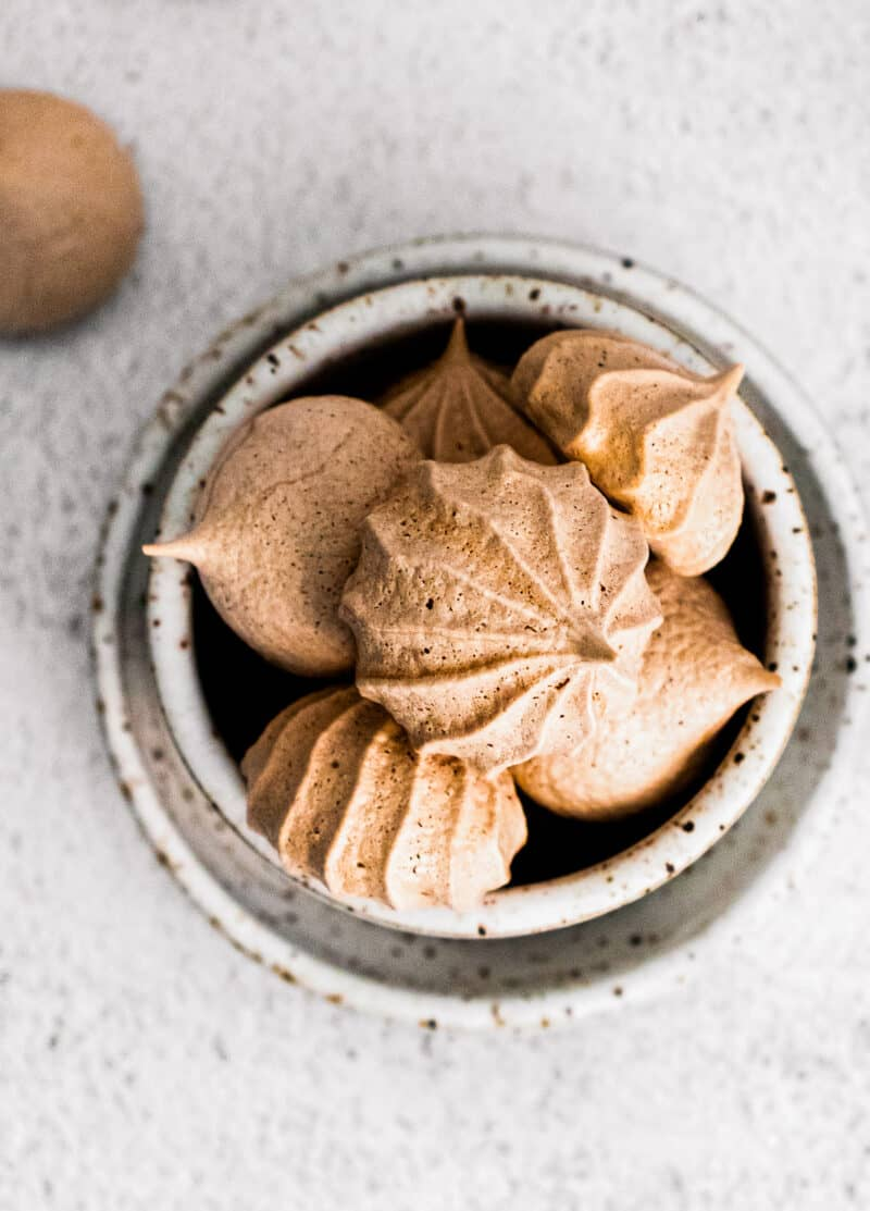 bowl of chocolate meringue cookies