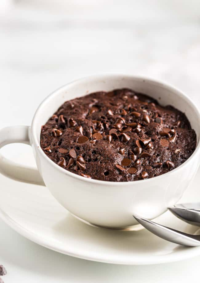 chocolate mug cake with chocolate chips