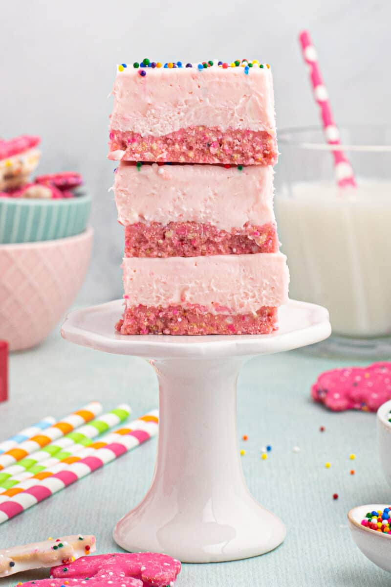stacked no bake circus cookie cheesecakes