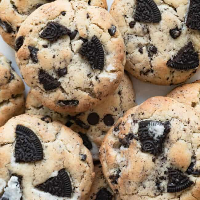 cookies and cream cookies with oreos on plate