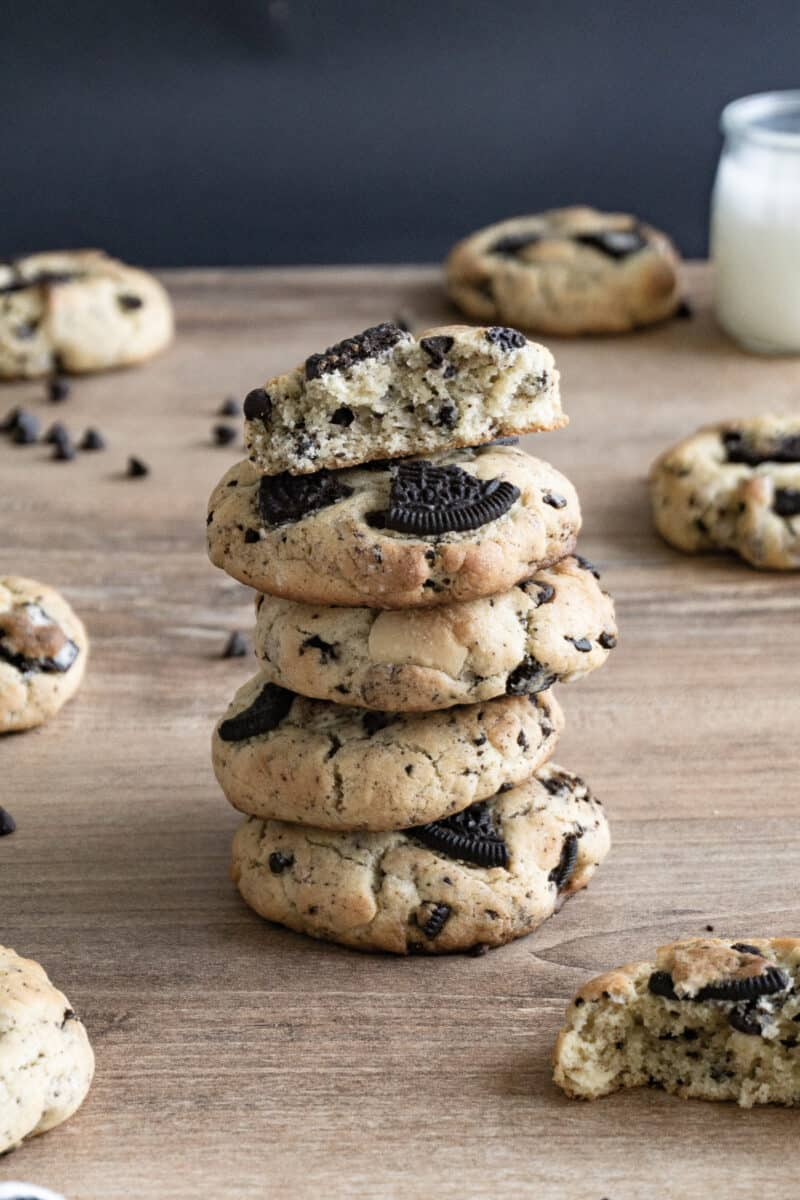 cookies and cream cookies with oreos on butcher block
