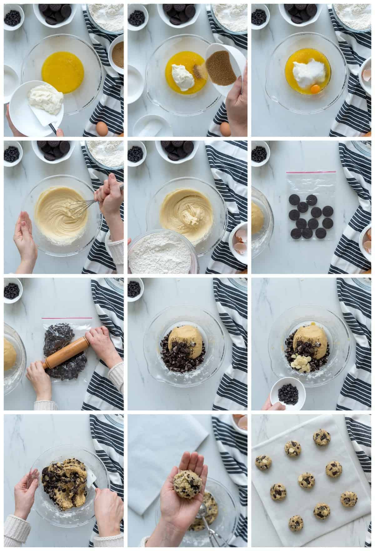 step by step photos for how to make cookies and cream cookies