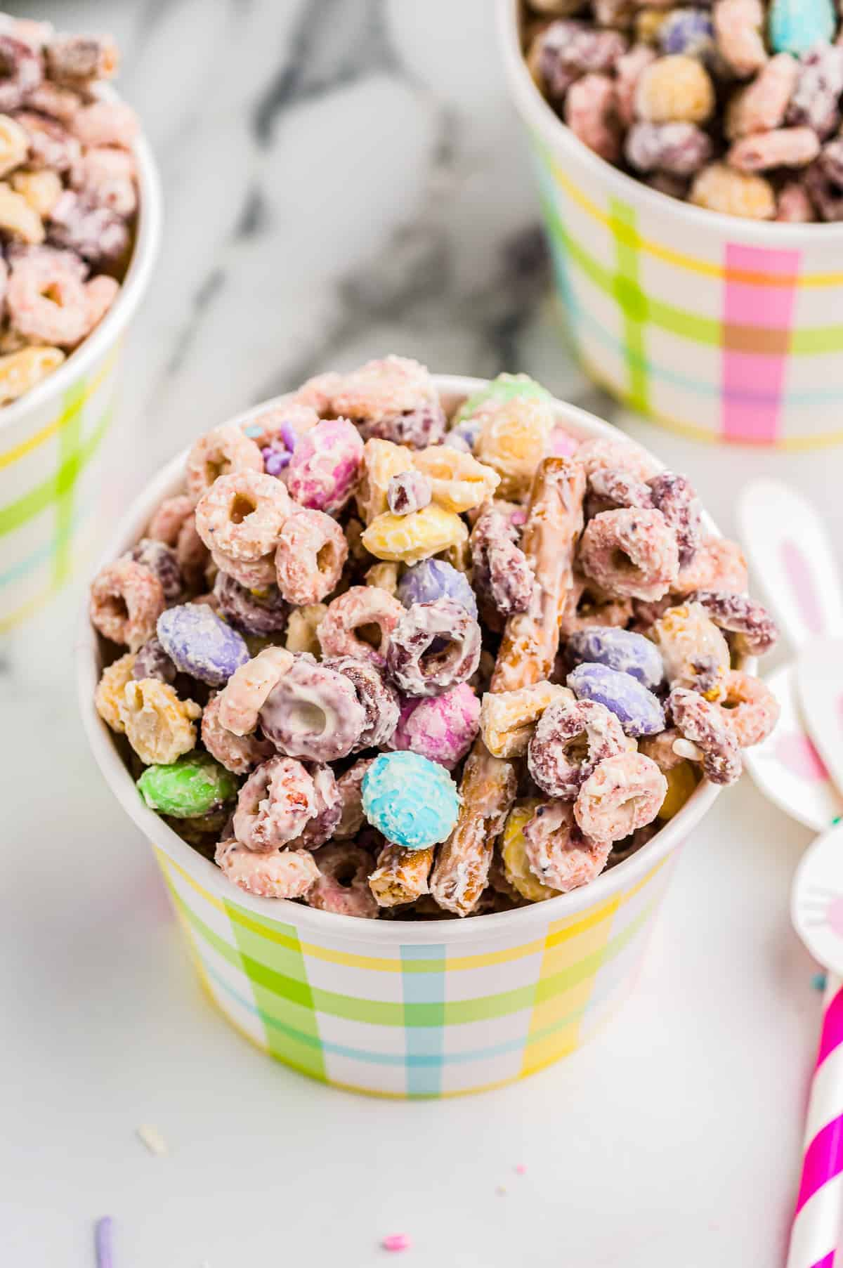 cups of easter bunny bait snack mix