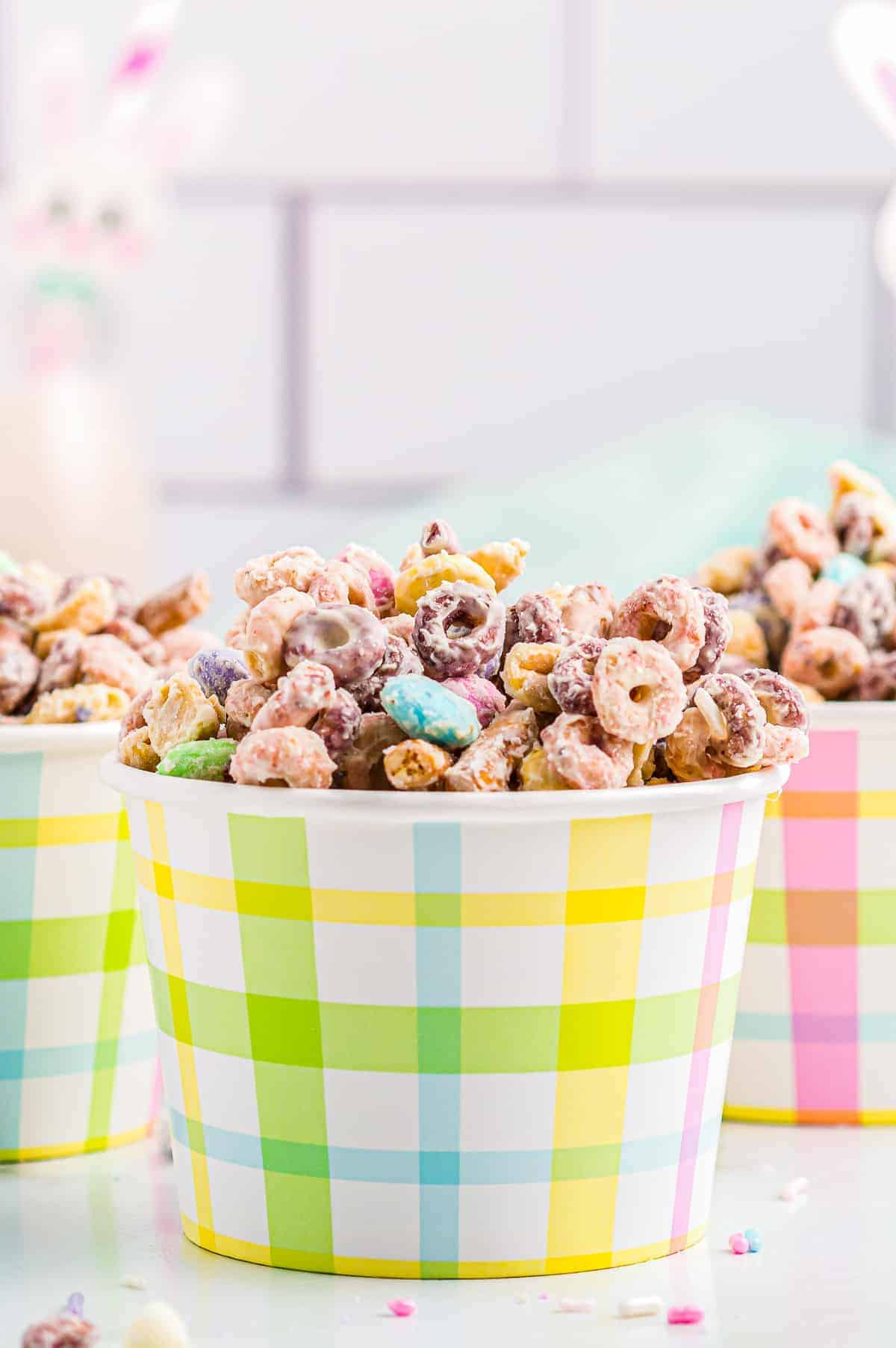 side shot of cups of easter bunny bait snack mix