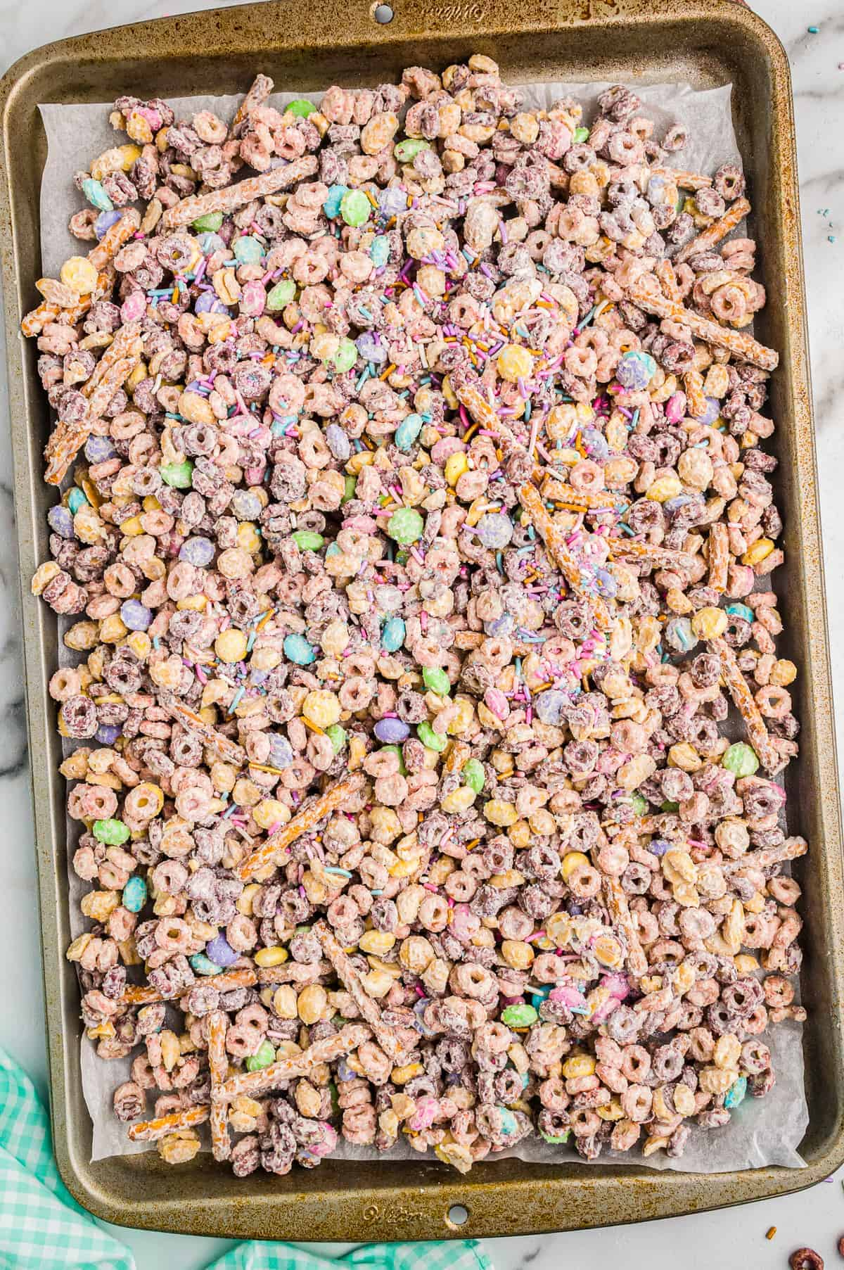 bunny bait snack mix on baking sheet
