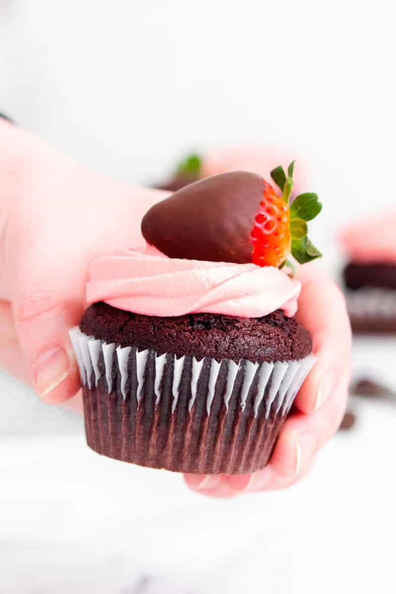 hand holding up chocolate covered strawberry cupcake