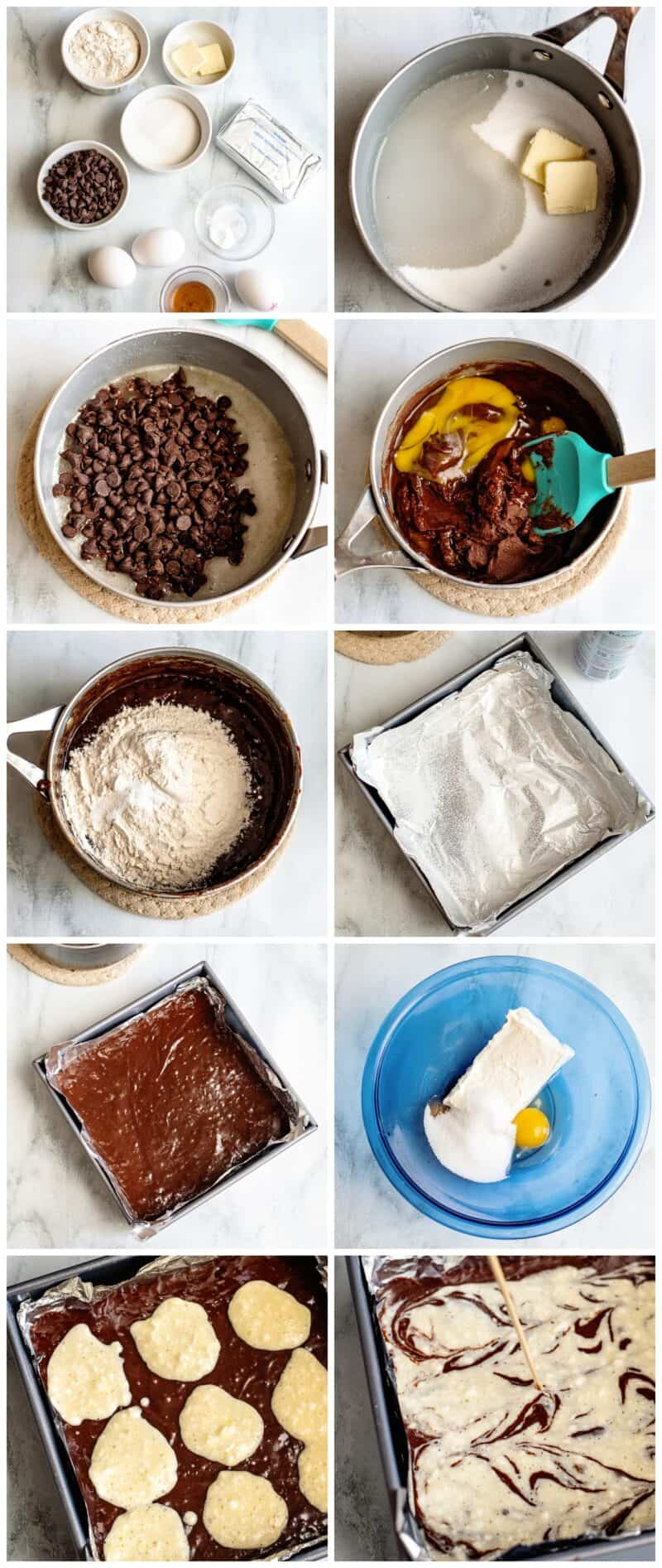 step by step photos of how to make cream cheese brownies