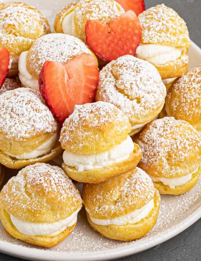 up close image of homemade cream puffs
