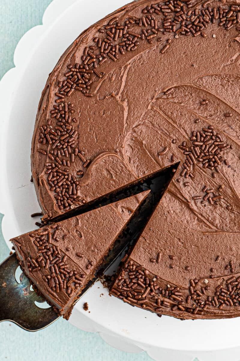 overhead slice of devils food cake