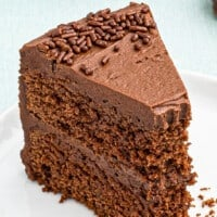 devil's food cake with bite out