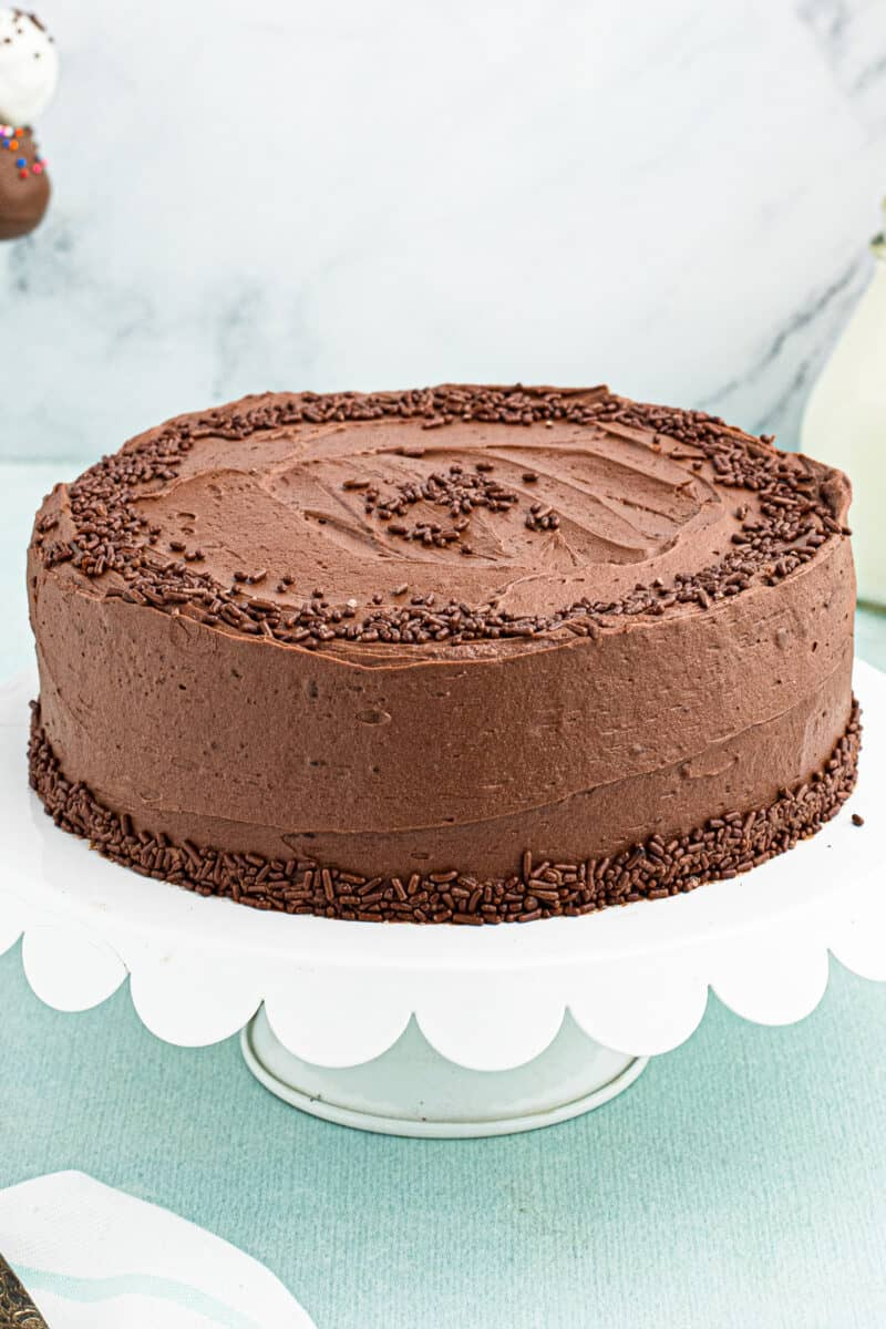 devils food cake with chocolate frosting
