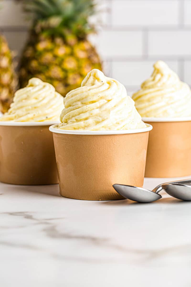 dole whip in front of a pineapple
