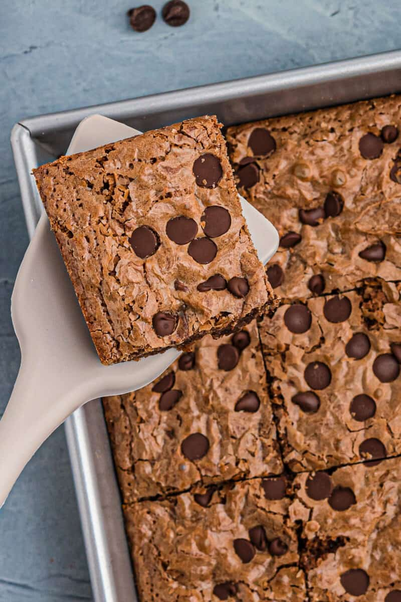 espresso brownies with chocolate chips in pan
