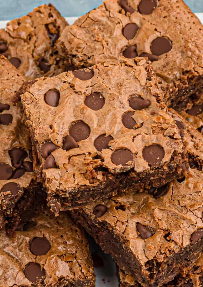 up close espresso brownies with chocolate chips