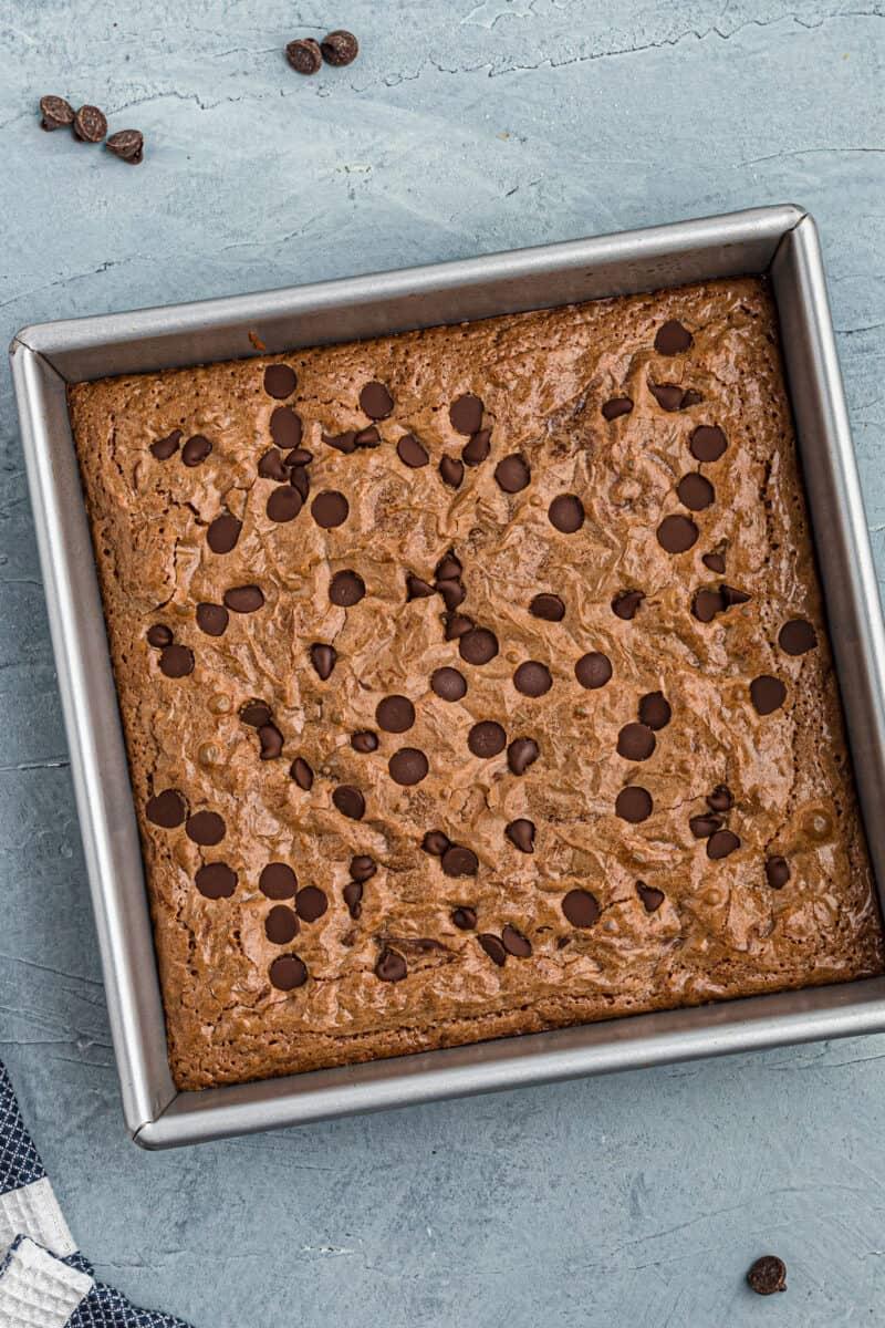 espresso brownies in pan