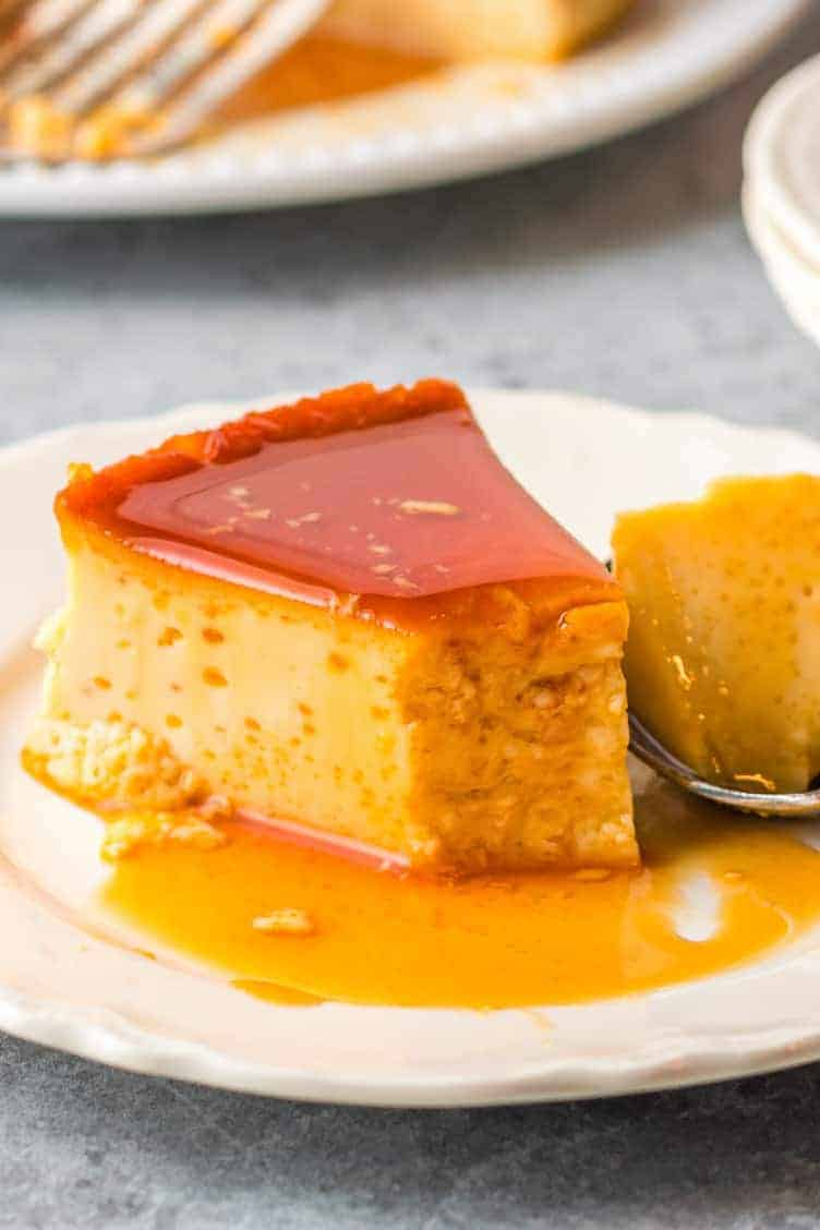 slice of flan with bite out