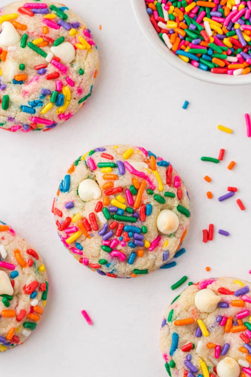 funfetti cookies with white chocolate chips on table