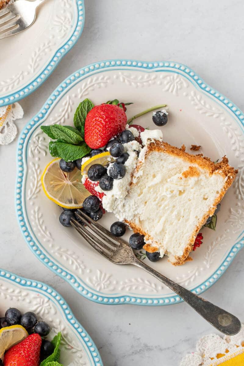 slice of lemon angel food cake on plate