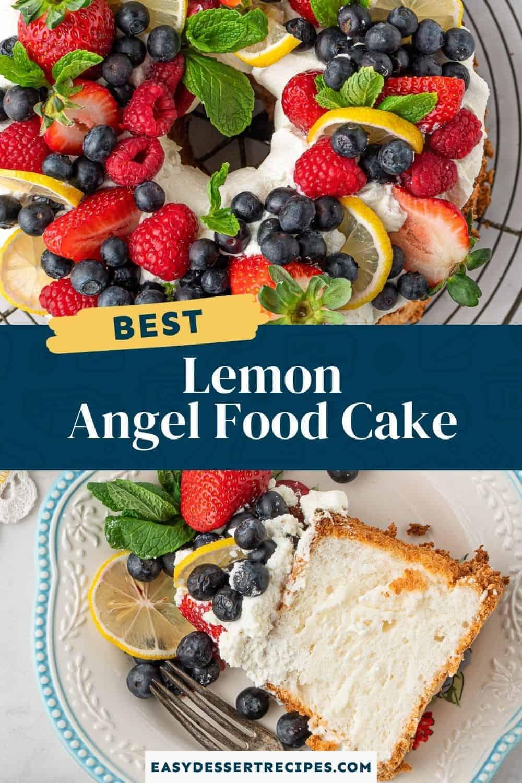 lemon angel food cake pinterest collage