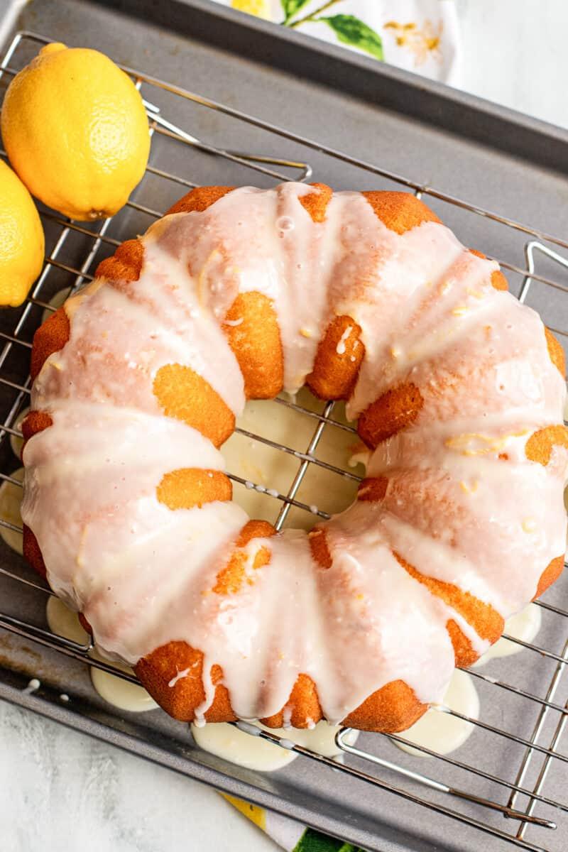 overhead image of lemon bundt cake