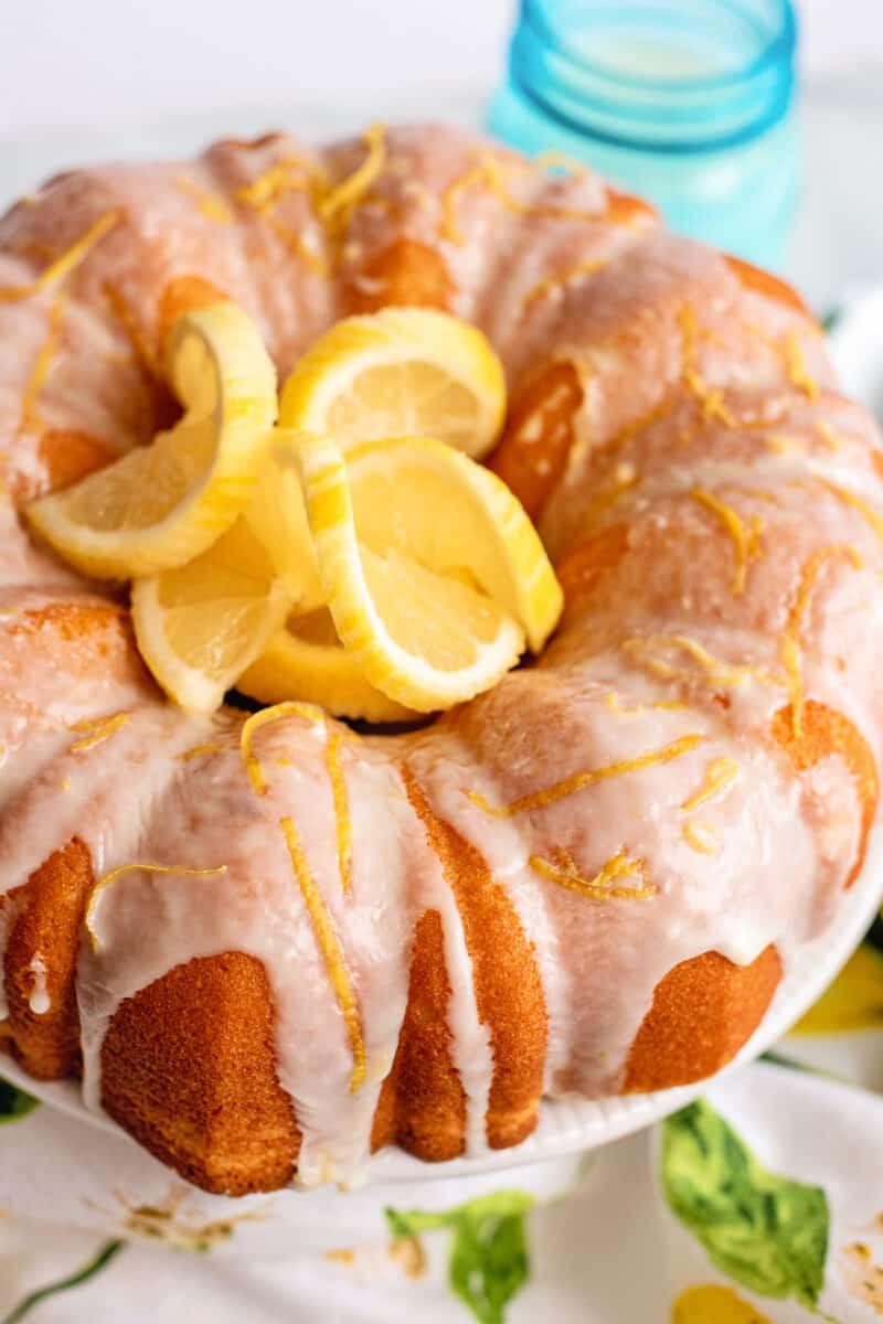 lemon bundt cake with icing and lemons