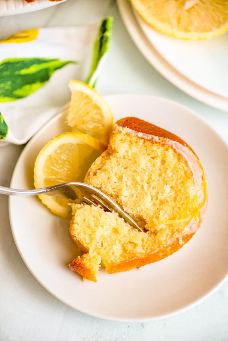 slice of iced lemon bundt cake