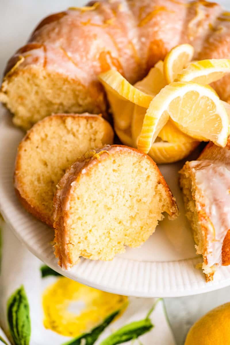 slices of iced lemon bundt cake