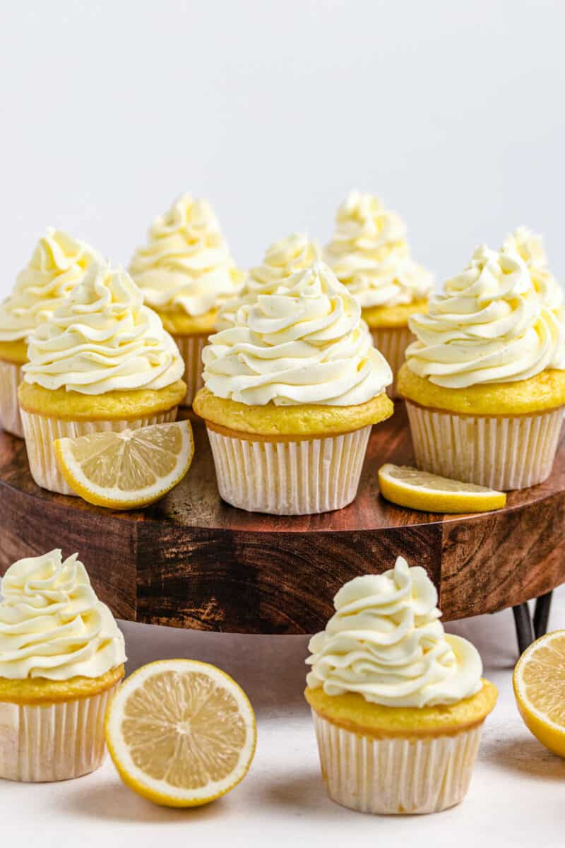 lemon cupcakes on cake stand