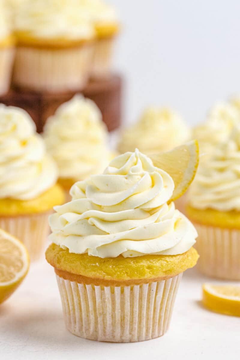 up close image of lemon cupcakes