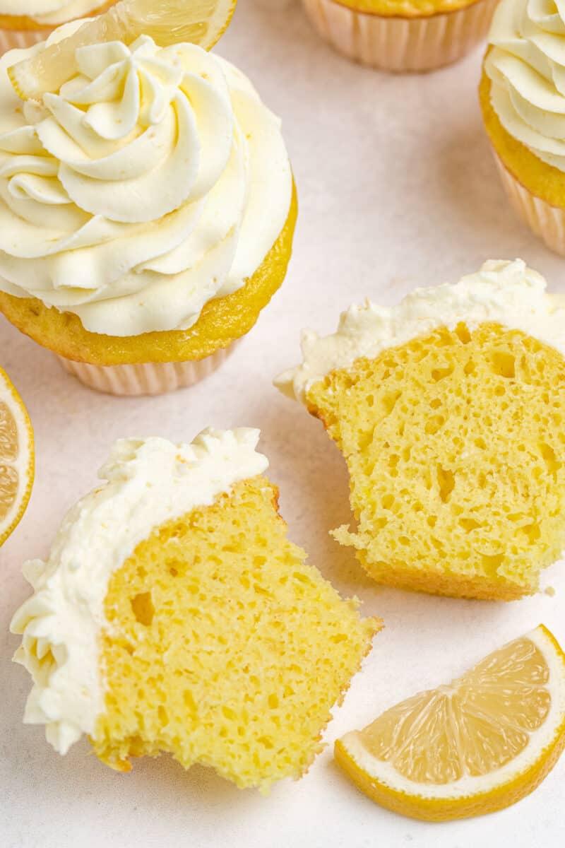 lemon cupcake cut in half