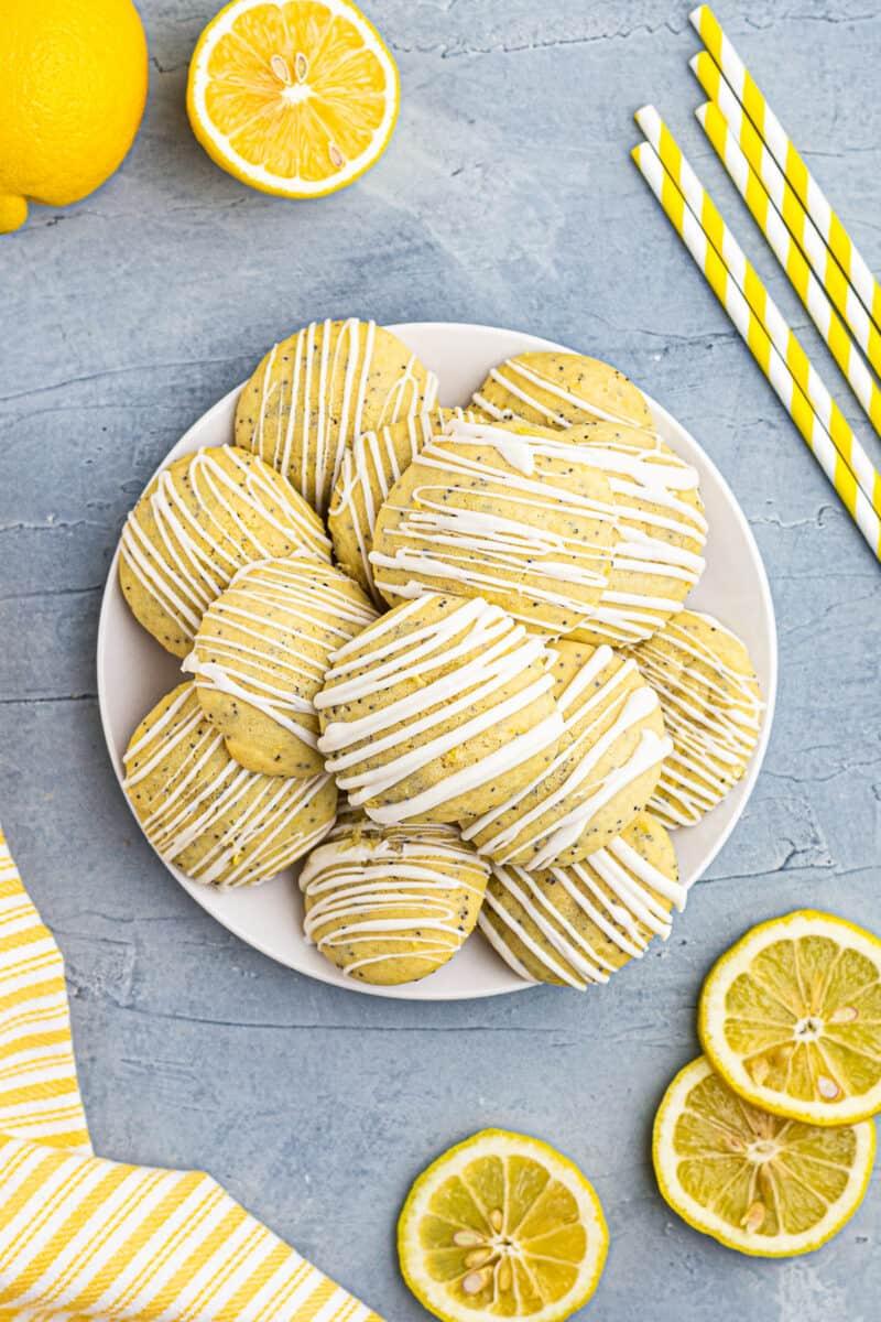 plate with lemon poppy seed cookies
