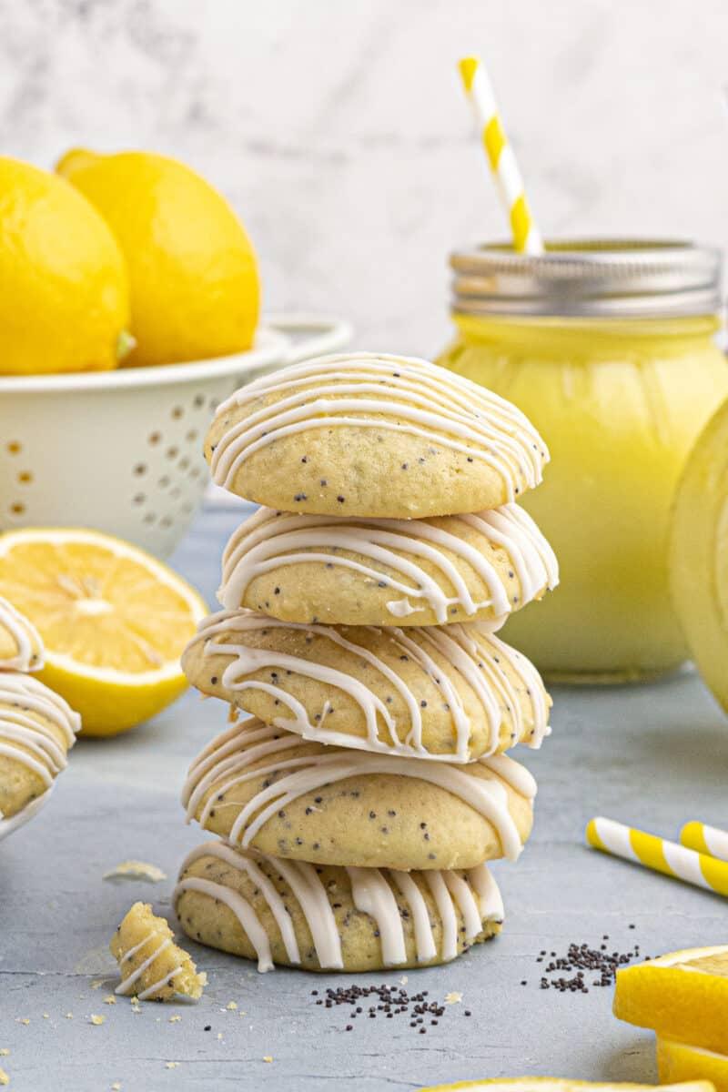 stacked lemon poppy seed cookies
