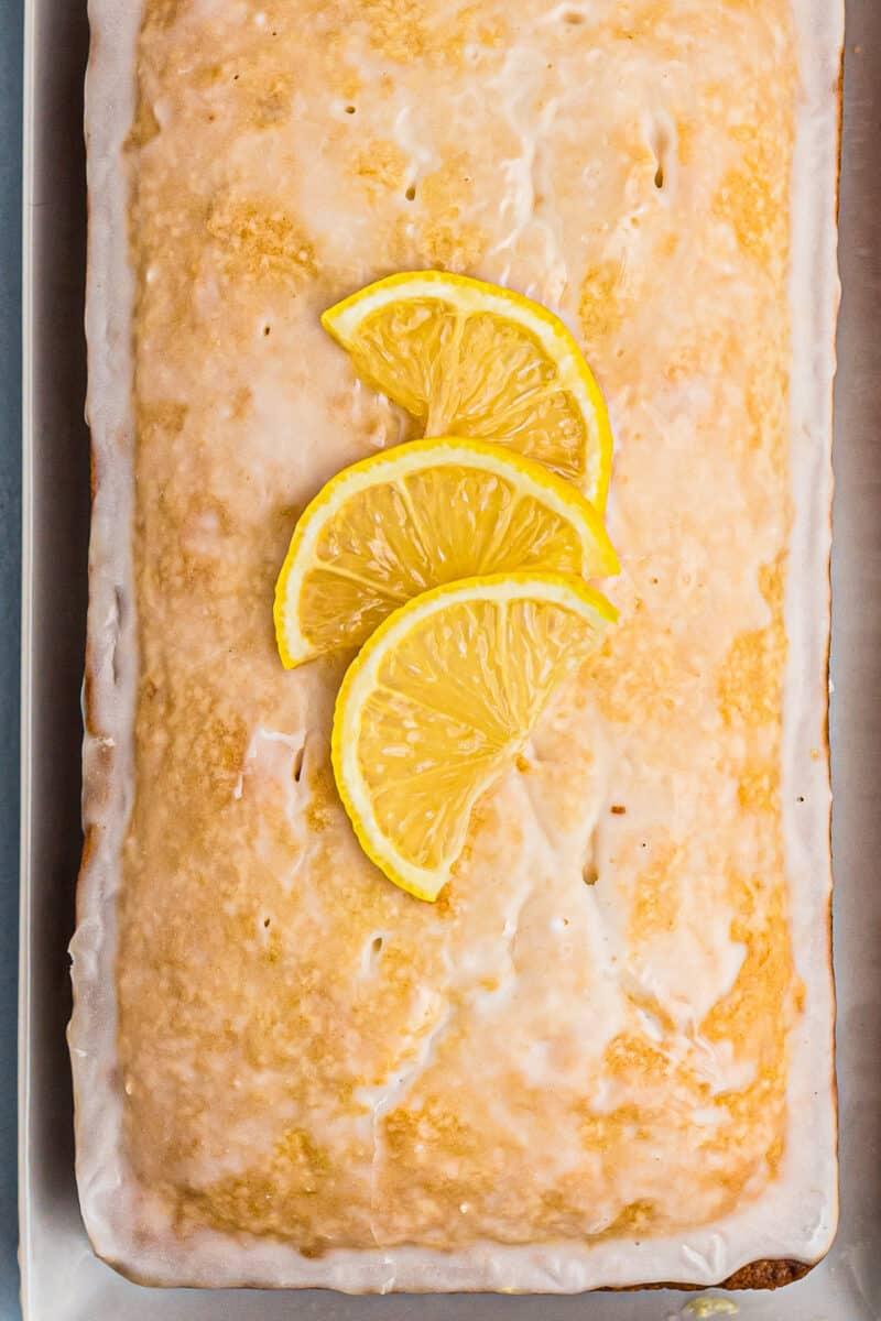 glazed lemon pound cake overhead image