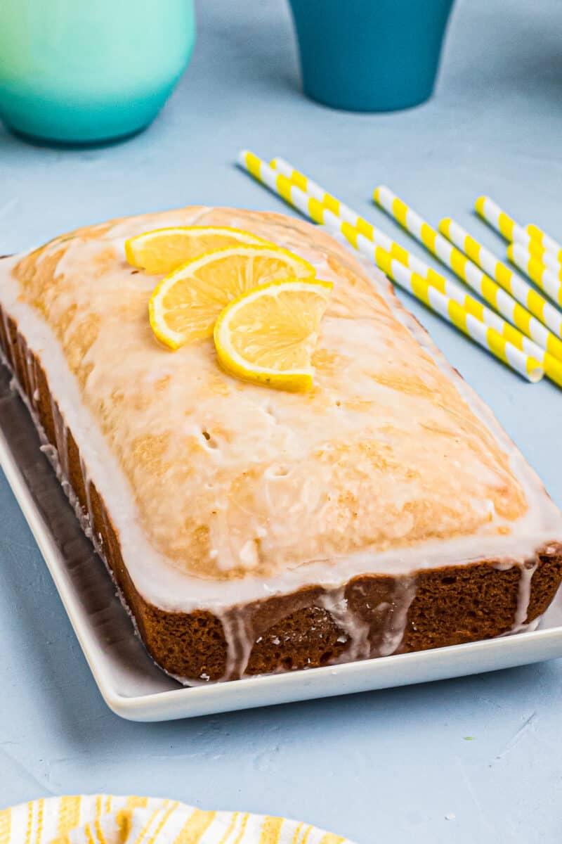side image of lemon pound cake with glaze