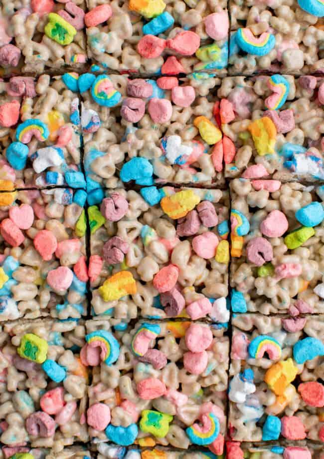 sliced lucky charms treats