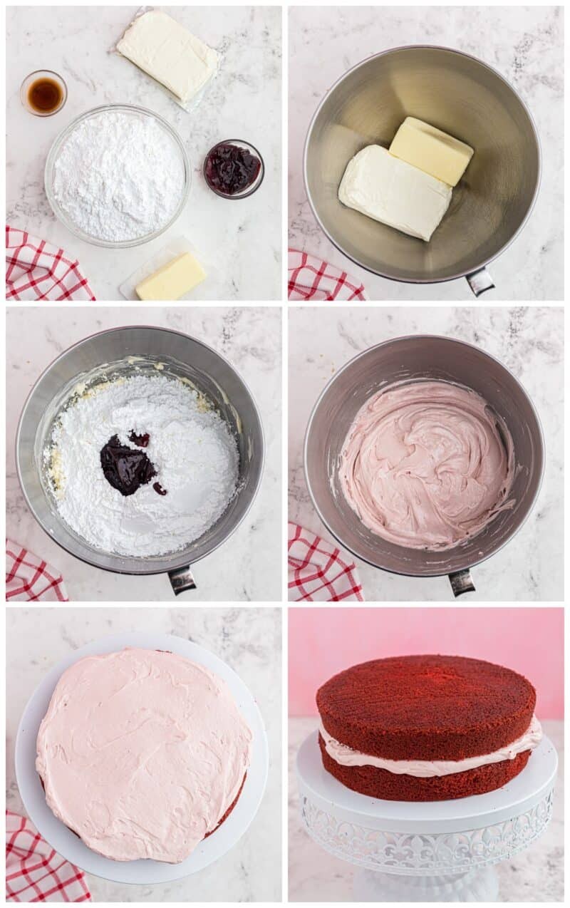 step by step photos of making raspberry cream cheese frosting