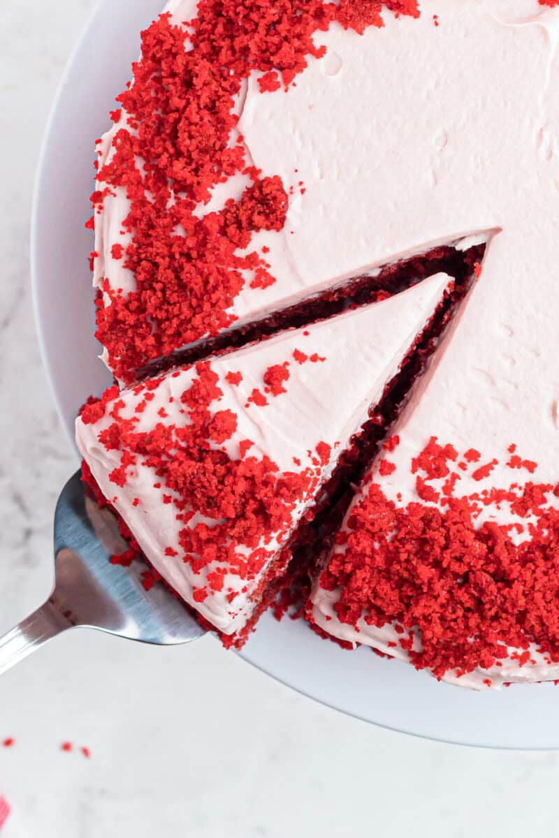 red velvet cake with raspberry cream cheese frosting