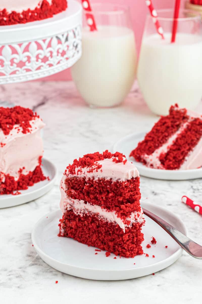 side shot of slice of red velvet cake